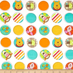 Disney Pooh Nursery Flannel Character Dots White Fabric