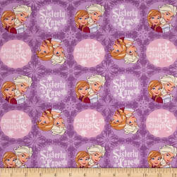Disney Frozen Winter Magic Sisters Badges Lavender Fabric
