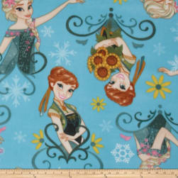 Disney Frozen Fleece Sisters Fever Sunflowers Aqua Fabric