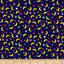 Jungle Moons & Stars Navy Fabric