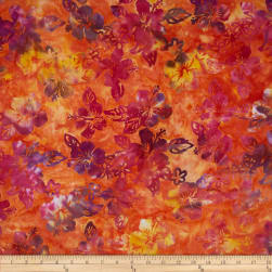 Indonesian Batik Floral Orange/Purple Fabric
