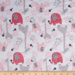 Minky Jungle Dreams Candy Pink/Grey Fabric