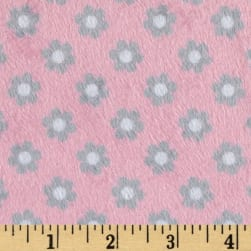 Minky Ditsy Candy Pink/Grey Fabric