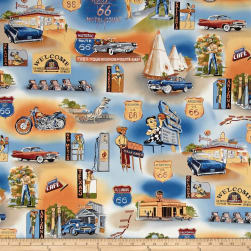 Highway 66 Blue Fabric