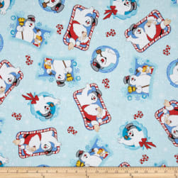 Frosty the Snowman Tossed Characters Blue Fabric