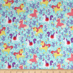 Michael Miller Unicorn Frolic Flannel Seafoam Fabric