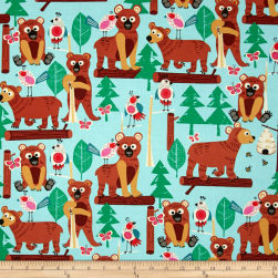 Alexander Henry Monkey's Bizness Bearly There Aqua Fabric