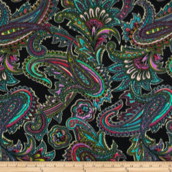 Winterfleece Radiant Paisley Black Fabric