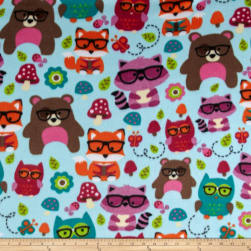 Winterfleece Nerdy Forest Friends Light Blue Fabric