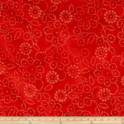 Indian Batik Hollow Ridge Floral Red Fabric