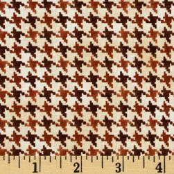 Nature's Glory Houndstooth Brown Fabric