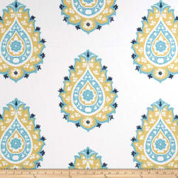 Premier Prints Damask Saffron/Coastal Blue Fabric