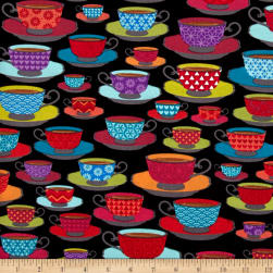 Loves Brewing Time for Tea Black Fabric