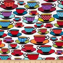 Loves Brewing Time for Tea White Fabric