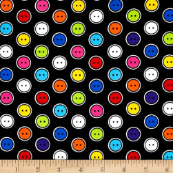 Kanvas Sew Easy Button Dot Black/Multi Fabric