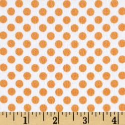 Kanvas Breezy Baby Flannel Lullaby Dot White/Orange Fabric