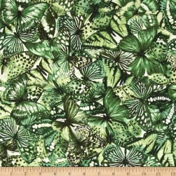 Butterfly Forest Collage Green Fabric