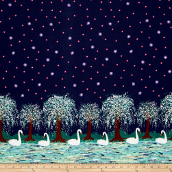 Michael Miller Swan Lake Border Midnight Fabric