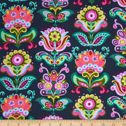 Amy Butler Bright Heart Folk Bloom Midnight Fabric