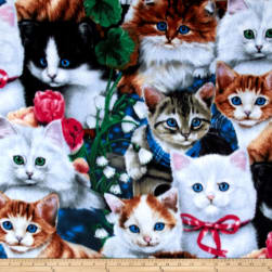 Valentine's Kittens Multi Fleece Fabric