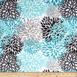Shannon Premier Prints Minky Cuddle Blooms Teal Fabric