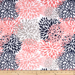 Shannon Premier Prints Minky Cuddle Blooms Coral Fabric