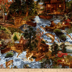Timeless Treasures Flannel Fishing Scenic Forest Fabric