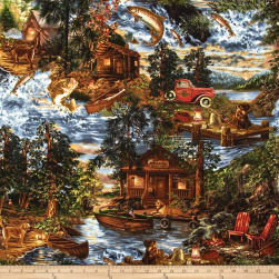 Timeless Treasures Fishing Scenic Forest Fabric