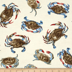 Timeless Treasures Tossed Crabs Cream