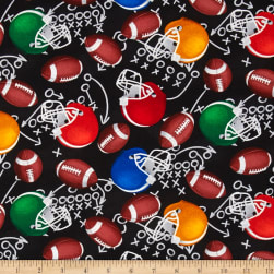Timeless Treasures Football Motifs Black