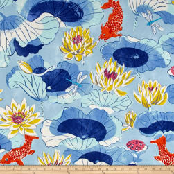 Waverly Sun N Shade Lotus Lake Cobalt Fabric