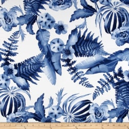 Telio Monet Rayon Sateen Floral Blue/White Fabric