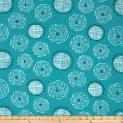 Art Gallery Playing Pop Sound Bubbles Teal Fabric