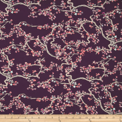 Art Gallery Wonderland Enchanted Leaves Plum Fabric