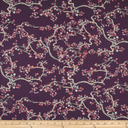 Art Gallery Wonderland Voile Enchanted Leaves Plum Fabric