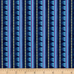 Laurel Burch Laurel Land Metallic Stripe Navy Blue