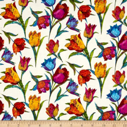Marblehead Butterflies Are Free Tulips Yellow Fabric