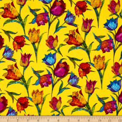 Marblehead Butterflies Are Free Tulips Ecru Fabric