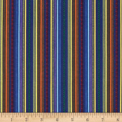 Truck Stop Patterned Stripe Blue Fabric