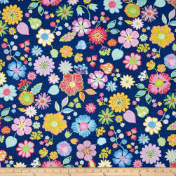 Happy Packed Floral Blue Fabric