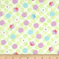 Happy Small Floral Light Green Fabric