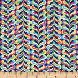 Happy Stripe Navy Fabric
