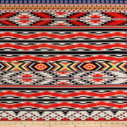 Coachella Stretch ITY Jersey Knit Aztec Orange/Black