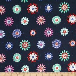 Cotton + Steel Picnic Enamel Flowers Navy Fabric