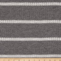 Open Weave Stripe Sweater Knit Gray/White