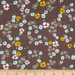 Cloud 9 Organics Scattered Floral Interlock Knit Brown