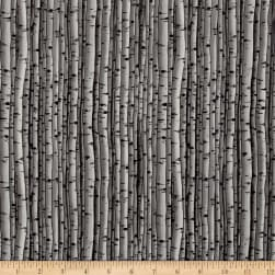 Snowscapes Birch Texture/ Knock On Wood Grey Fabric