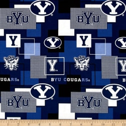 Collegiate Cotton Broadcloth Brigham Young University Block Print