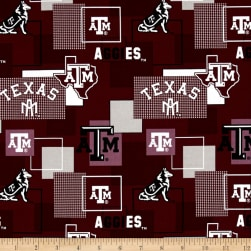 Collegiate Cotton Broadcloth Texas A&M University Block Print Burgundy