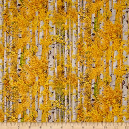 Landscape Medley Leaves Gold Fabric